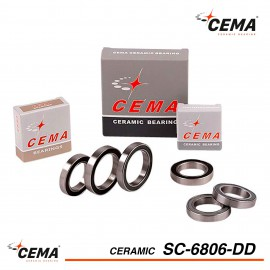 Roulement 6806 céramique Inox CEMA SRC-SC6806DD pour boitier de pédalier