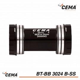 Boitier de pédalier inox BB30 pour pédalier Shimano - Cema BT-BB3024B-SS