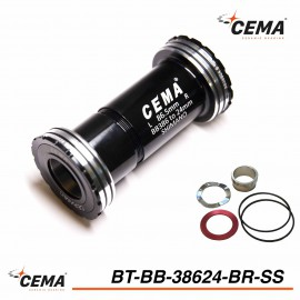 Boitier de pédalier 386 EVO chromé pour SRAM GXP - CEMA BT-BB38624BR-SS