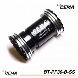Boitier de pédalier Pressfit 30mm chromé pour SRAM & FSA - CEMA BT-PF30-B-SS