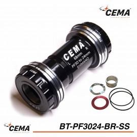Boitier de pédalier Pressfit 30 to 24mm chromé pour SRAM GXP CEMA BT-PF3024BR-SS